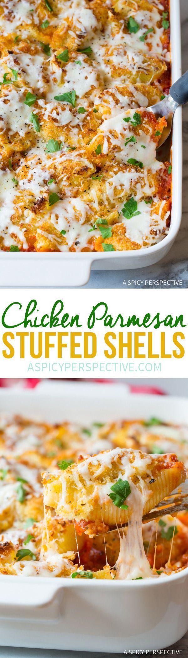 Perfect Chicken Parmesan Stuffed Shells Recipe via /spicyperspectiv/ (Chicken Parmesan)