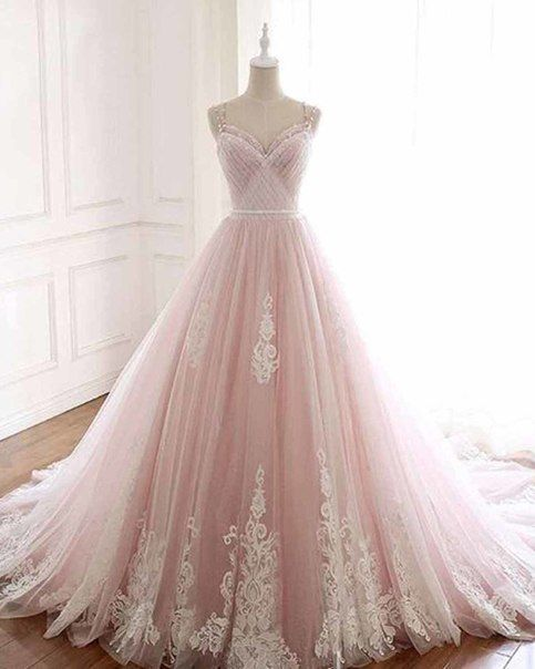 Pink tulle sweatheart neck long A-line formal prom dress with lace applique from sweetheart dress