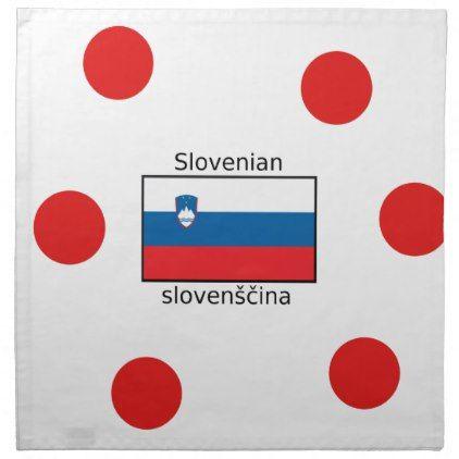 Slovenian Language And Slovenia Flag Design Cloth Napkin - decor gifts diy home & living cyo giftidea