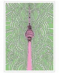 Fernsehturm Drawing Meditation (green)-Poster