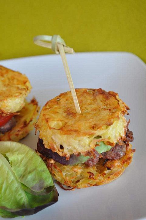 hamburger galette de pomme de terre...