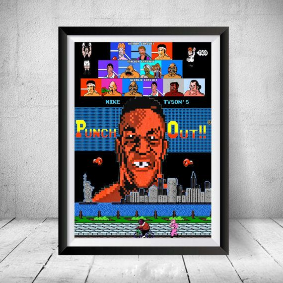 Mike Tyson's Punch-Out Nintendo NES 8-bit Video Game Retro 80's Print Custom Art Poster King Hippo Mac New York Tyson Punch Out