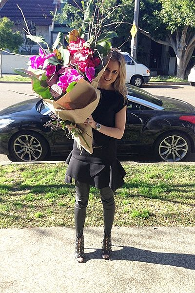"""InStyle Magazine - What I'm Wearing: Roxy Jacenko """"Monday morning flower pick up from Flowers by Silva @ The Grounds, Alexandria. Wearing Givenchy dress, Scanlan & Theodore leather leggings, Alaïa shoes and steel Rolex Daytona watch."""""""