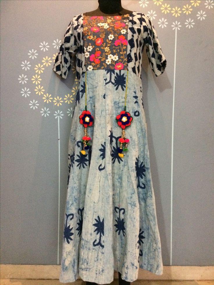 Batik indigo kurta by Anita Kunte