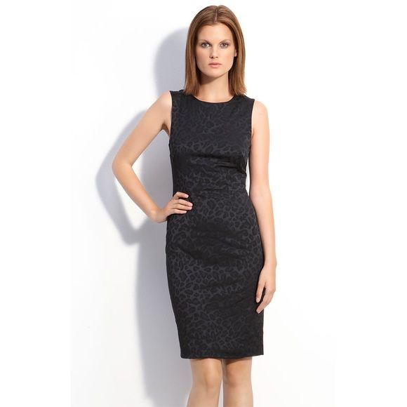 "Jay Godfrey black ""Fontana"" sheath dress A textured tonal leopard print patterns a slim-fitting sheath dress designed with angled seams at the waist for a flattering effect. Back zip closure. Back vent. Approx. length from shoulder to hem: 37"", 12.5"" waist, 16"" bust, 17"" hip. True to size. Lined. Polyester/polyamide/Lycra® spandex; dry clean. Worn once for a few hours, like new condition. Jay Godfrey Dresses Midi"