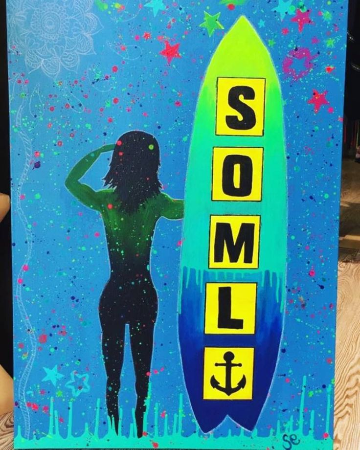 SOML, a Acrylic on Canvas by Sarah Sandmann from South Africa. It portrays: Beach, relevant to: silhouette, blue, splatter, stars, surf, surboard, modern Acrylic on Canvas Commission for a boutique fashion store called SOML.