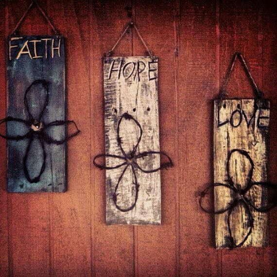 Faith hope love. barb wire cross. 3 wall plaques. Weathered barn wood.