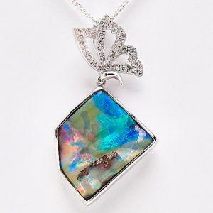 Sterling Silver Queensland Boulder Opal Butterfly Pendant. #fremantleopals #opal #boulderopal #pictureopal