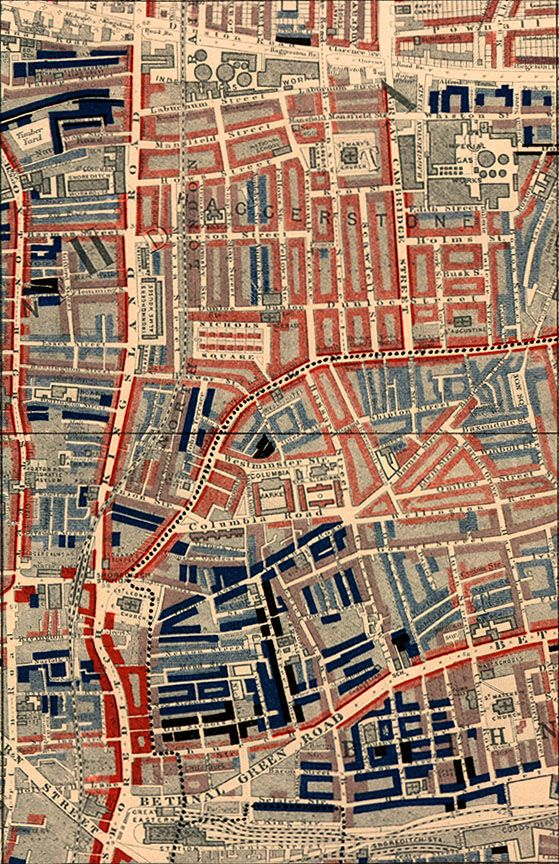 Poverty map of Old Nichol slum, East End of London,  showing Bethnal Green Road, from Charles Booth's Labour and Life of the  People. Volume 1: East London (London: Macmillan, 1889). The streets  are colored to represent the economic class of the residents.