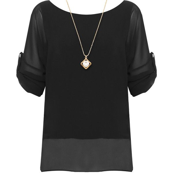Saphira Chiffon Batwing Necklace Top (€26) ❤ liked on Polyvore featuring plus size women's fashion, plus size clothing, plus size tops, black, batwing tops, sheer chiffon top, batwing sleeve tops, short sleeve tops and chiffon tops