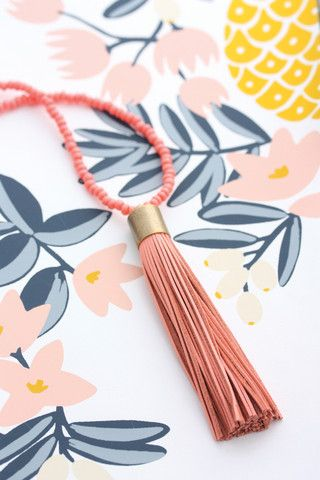 Cloud Nine Creative - Leather Tassel Necklace - Candy Pink
