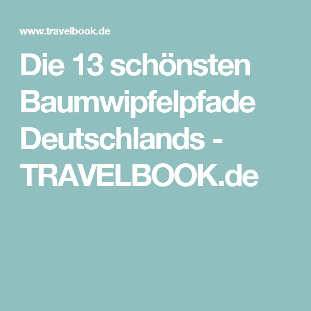 Die 13 schönsten Baumwipfelpfade Deutschlands - TRAVELBOOK.de