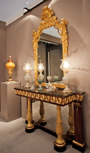 Oak Console with porcelain objects