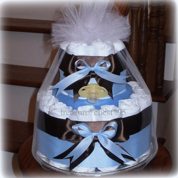 Blue And Brown Satin Diaper Cake Baby Boy Shower Centerpiece Favors Decorations
