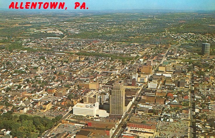 Aerial view of allentown 1960s lehigh valley pa for The floor show bethlehem pa