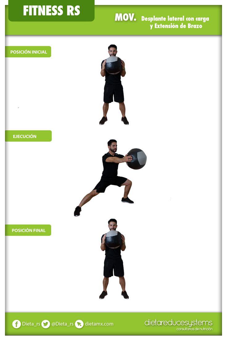 DESPLANTE LATERAL CON CARGA Y EXTENSIÓN DE BRAZOS  Este ejercicio es ideal para trabajar los músculos de las piernas, especialmente abductores y glúteos. Además, fortalece la zona central y desarrolla el equilibrio.  Los grupos musculares principalmente involucrados son: cuádriceps, abductores, isquiotibiales, glúteos, abdomen y hombros. #fitness #GYM #salud #WorkOut