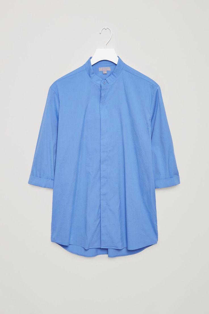 COS image 4 of 3/4 sleeve grandad shirt in Blue