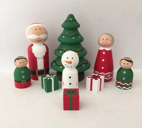 26PC Blank DIY Wooden Christmas Tree peg Dolls Snowmen Peg Dolls Acorn Peg Dolls Home Decor for Kids Art and Creative DIY Craft