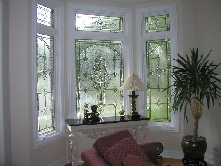 Custom Stained Glass windows with Bevels and gluechip glass for privacy.