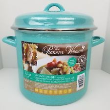 The Pioneer Woman 12 QT Vintage Speckle Turquoise Enameled Steel Stock Pot & Lid