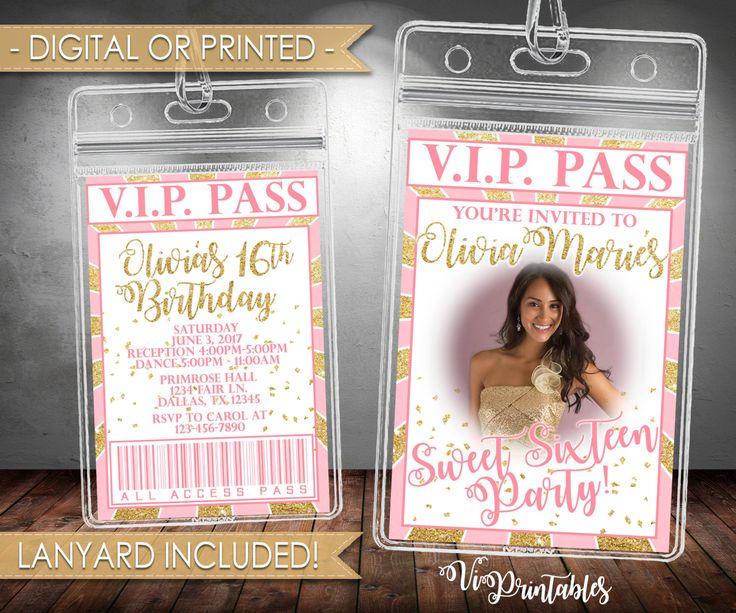 VIP Sweet Sixteen Invitation, VIP Sweet 16 Invitation, Pink and Gold, VIP Pass, Lanyard Invitation, Digital or Printed, #101 by VipPrintables on Etsy