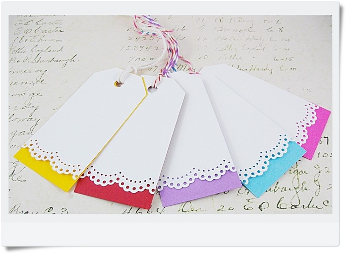 Lace Edge Swing Gift Tags with matching Bakers Twine - by TrinkArts on madeit $4.50