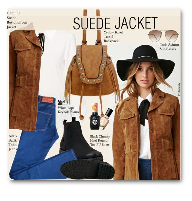 """Fall Trend: Suede Jacket"" by beebeely-look ❤ liked on Polyvore featuring Forever 21, Antik Batik, Tod's, Sally Hansen, StreetStyle, Fall, suede, fallfashion and shein"