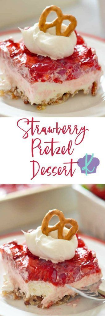 If you can't choose between sweet and salty treats - then this Strawberry Pretzel Dessert is for you! A pretzel-pecan crust, topped with a sweet cream cheese layer, and finished off with a strawberry topping: this is one dessert that has something for everyone!   easy dessert recipes   homemade dessert recipes   desserts using strawberries   strawberry dessert recipes   salty and sweet desserts    Kitchen Meets Girl