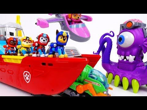 Paw Patrol Sea Patroller Boat Toys Sea Patrol with Ryder ATV Skye Saves the Day Vehicle Chase - YouTube