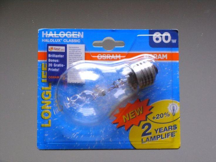 5 x Osram Halogen Halogenlampe Halolux Glühlampe Glühbirne 60 W Watt 60W  E27