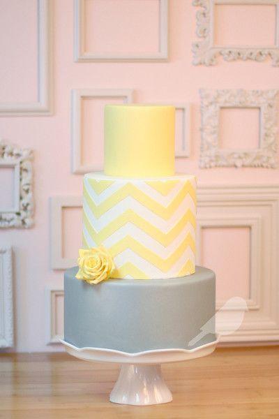 Yellow and gray chevron wedding cake {Chickadee Hill Cakes}