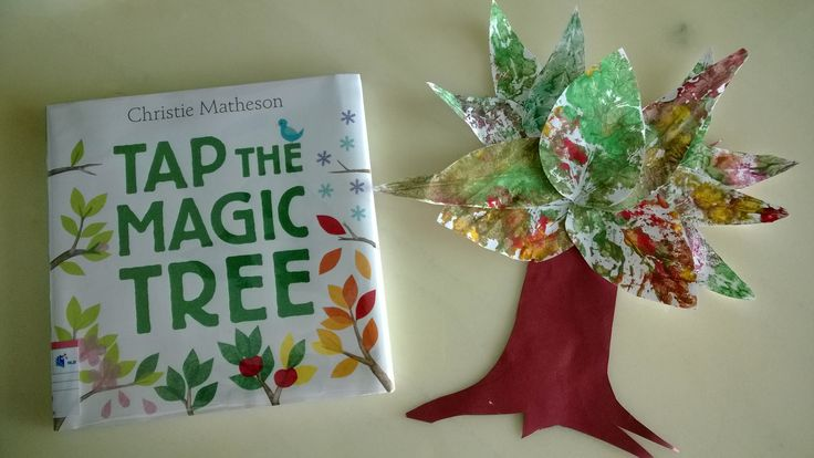 Collected and then painted dried leaves, printed them onto cardstock, and stapled when dry on a cut-out tree trunk with branches. Easy book-based craft using Christie Matheson's Tap the Magic Tree to learn about a life cycle of a tree during the four seasons