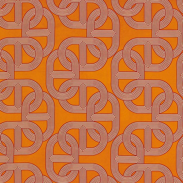 Orange Fabric | Chaine d'Ancre | Chain Link Pattern | Hermes Paris | Fashion Brand | Wallpaper Design | Fabric Pattern