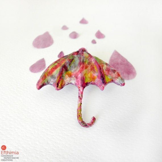 Papier mache umbrella broochmixed media by EfthimiaPapierMache