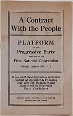 """The Progressive Party of 1912 was an American political party. It was formed by former President Theodore Roosevelt, after a split in the Republican Party between him and President William Howard Taft."""