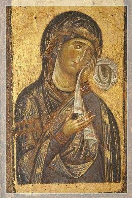 Giunta Pisano (Giunta Capitini, detto) - La Vergine del Crocifisso di Bologna, dettaglio - 1250-54 -  Tempera su tavola - Bologna, Chiesa di San Domenico.