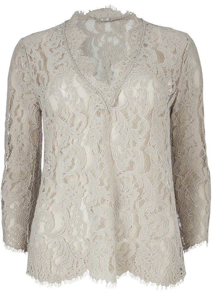Bluse blonde lys sand 22620 Long Lace V-neck - 84 champagne