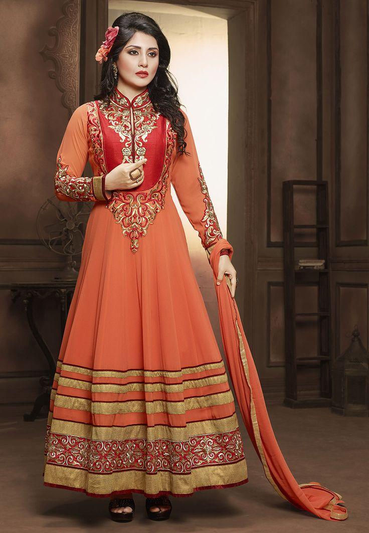 Buy Orange Faux Georgette Abaya Style Churidar Kameez online, work: Embroidered, color: Orange, usage: Wedding, category: Salwar Kameez, fabric: Georgette, price: $83.88, item code: KRY7, gender: women, brand: Utsav