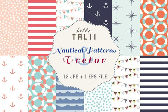 Nautical Patterns (Vector + JPG) by Hello Talii on @creativemarket