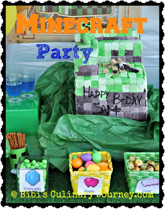 Minecraft Party with Minecraft Cake #minecraft #cake #partyideas