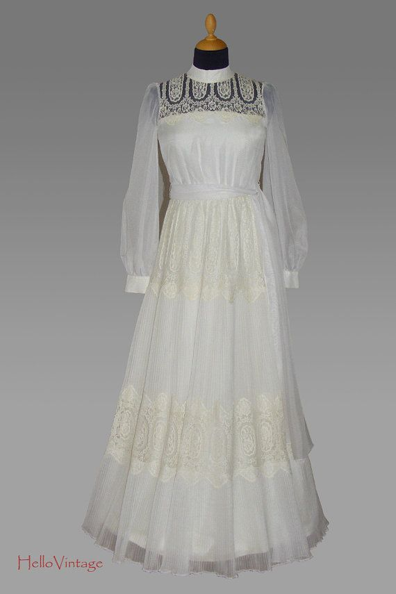 Vintage 1960s Cream Chiffon, Polyester, and Lace Wedding Dress