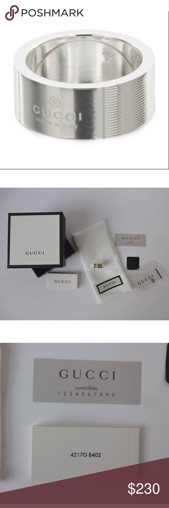 Gucci Sterling Silver Trademark Striped Ring Sz 7 Gucci Sterling Silver Trademark Striped Ring Sz 7  This ring is actually unisex. New in box, comes with authenticity card. Came in sealed plastic bag, was taken out just to photograph for this listing.  Width: 5/16 inch or 8 mm Gucci Jewelry Rings