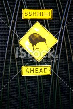 Sshhh Kiwis Ahead Sign, New Zealand Royalty Free Stock Photo
