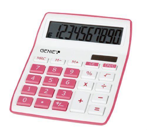 Genie 840 P 10-Stelliger Formschöner Design-Tischrechner, pink
