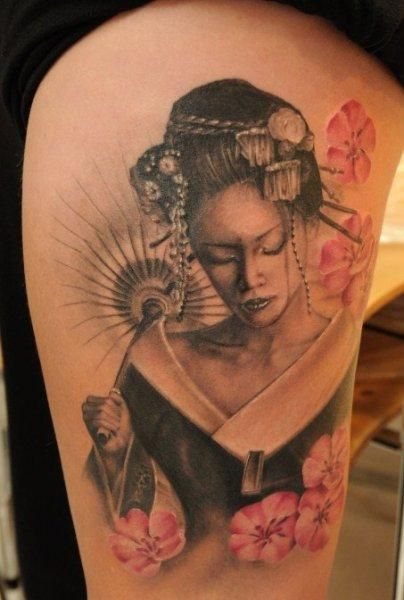 The design of a Geisha may be combined with floral elements. Description from create-tattoos.com. I searched for this on bing.com/images
