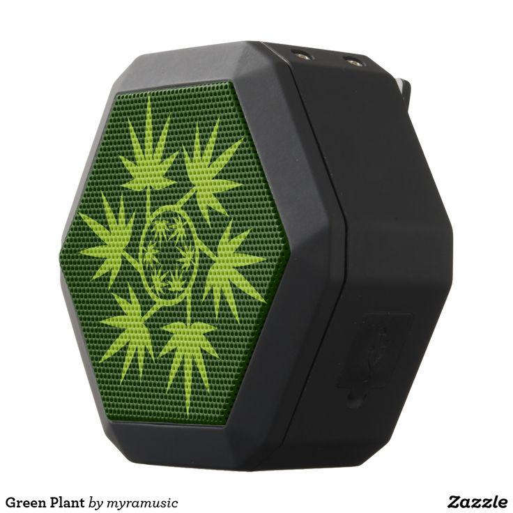 Green Plant Black Bluetooth Speaker. Cannabis. Música, music. Producto disponible en tienda Zazzle. Tecnología. Product available in Zazzle store. Technology. Regalos, Gifts. #bocinas #altavoces #speaker #marihuana #cannabis
