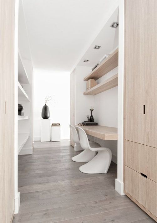 The built in office. Sleek and simple with oak.