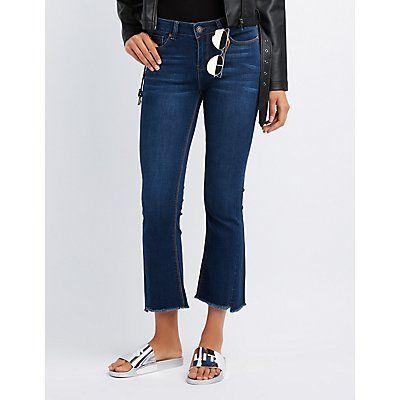 Denim Mid-Rise Flared Step Hem Jeans - Size 13