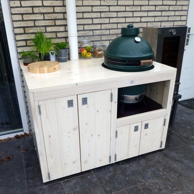 """buitenkeuken, custommade for BIG GREEN EGG, design and production by: """"HANS"""". (www.hansknepper.nl)"""
