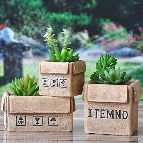 Indoor-Cactus-Planter-Pots-Set-of-3-Small-Design-Beige-Ceramic-Plant-Decor-New